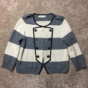 Ann Taylor Loft Striped Cotton Cardigan M Petite